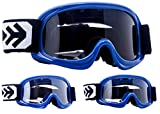 Armor · AG-49 'Blue' (blue) · Occhiali Cross · Enduro Bambini MX Kids Moto-Cross Bambino · (Black / Silver / Clear)