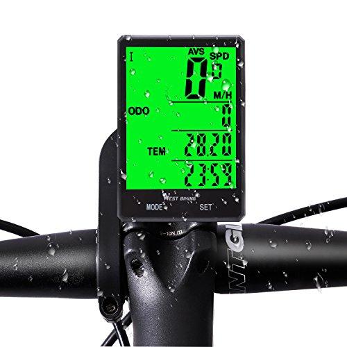 Funk Fahrrad Tachometer Wasserdicht Zyklus Computer mit LCD-Grün Hintergrundbeleuchtung, Bike Kilometerzähler 15Funktionen Speed vergleichen Record AVS SPD Odo MXS TM Colock etc., Bike Zubehör für Riders