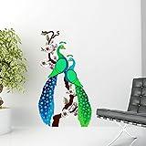Creatick Studio Peacock, Multi Color, Wall Stickers (Wall Covering Area : 64cm X 93cm)