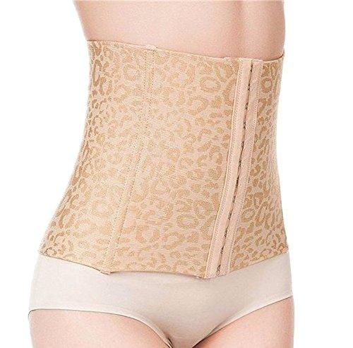 Fletion - Bustino regolabile a 3 ganci, da donna, senza cuciture, traspirante, elastico, adatto per il sostegno di schiena e zona lombare, per comprimere la pancia e delineare le forme beige