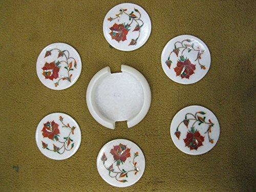 35-marble-coaster-set-of-6-pcs-semi-precious-stones-inlaid-pietra-dura-marquetry-work-elegant-royal-