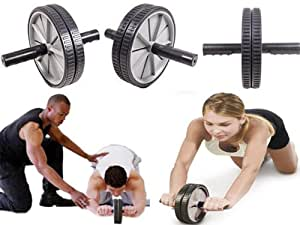 Dual Abdominal Roller Wheel With Knee Pad - AB GYM ROLLER EXERCISER WHEEL SLIM TONE ARMS WAIST FITNESS