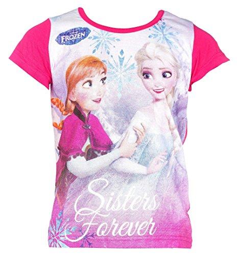Disney Frozen Die Eiskönigin T-Shirt, Original Lizenzware,Elsa and Anna pink, Gr. 116 (Anna Frozen Shirt Kleinkind)