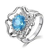 JewelryPalace Topacio Azul Suizo anillo Plata de ley 925