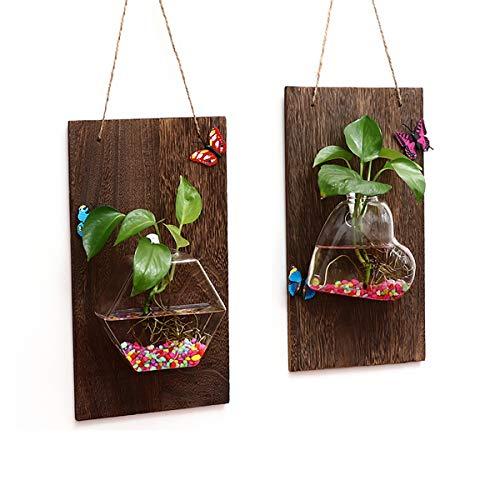 Ivolador Wand Übertopf aus Glas zum Aufhängen mit Holzbrett für Wand Hintergrund Dekoration (Wood + Love Shape vase) +(Wood + hexagonal vase) farblos -