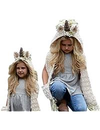 SevenPanda Crochet Cartoon Unicorn Winter Hat con Bufanda de Bolsillo  Capucha Tejiendo Gorro Lana Cosplay Fotografía Invierno cálido… 50d6c27e2c7