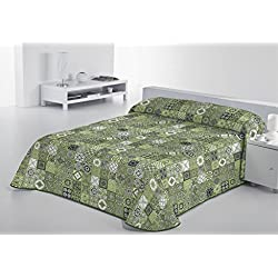 SABANALIA Rustik Colcha Fina Decorativa, Verde, Cama 105-200 x 280 cm