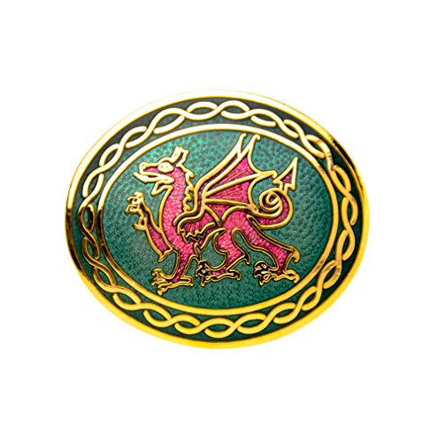 Brooches Store Welsh Dragon Knots Oval Red and Green Enamel Brooch