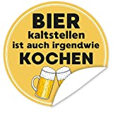 Bier kalt stellen ist auch irgendwie kochen Aufkleber | 9,5cm groß | rund | inkl.Alles Gute - Postkarte | Gestalten Sie Ihre Geschenke individuell