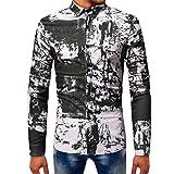 HCFKJ T-Shirt Blusen Herren, Gedruckt Bluse Casual Langarm Slim Shirts Tops (L, BK)