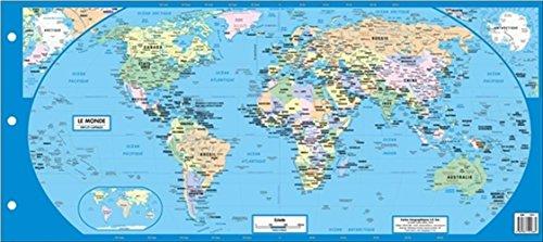 carte géographique - le monde - pays et capitales - carte plastifiée