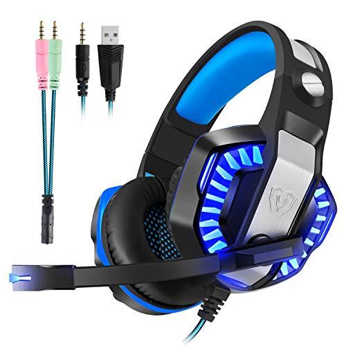 Gaming Headset Micolindun Mikrofon Gamer Einstellbare Kopfhörer LED Mic für PS4, PC, Laptop, Tablet, Telefon, MAC mit 3,5mm Over-Ear Bass Stereo Surround Sound Lautstärkeregelung (Adapter Enthalten)
