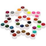 Anself 36 Couleur Nail Art Pigment à Ongle Set UV Gel Colle Solide