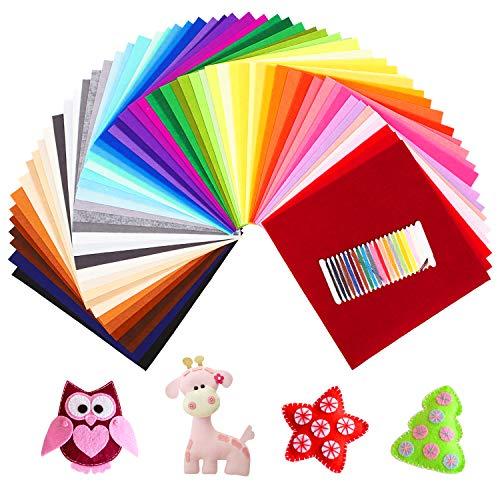 SOLEDI Feltro Colorato Feltro in Fogli 60 Colori 30*30 cm Feltro e Pannolenci Usato per DIY Mestieri per Bambini Protezione Ambientale, Sicura e Non Tossica con Bobina di Filo Tre Dimensioni