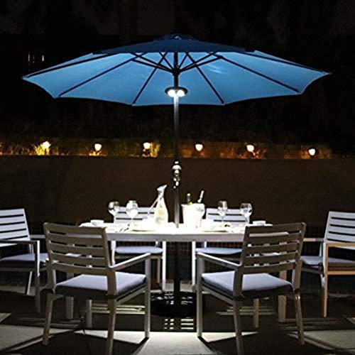 Uonlytech LED-Terrassenschirmleuchte, 24 LED-Leuchten 200 Lumen LED-Regenschirmleuchte, Schirmmastleuchte für Campingzelte Terrassenschirme für den Außenbereich (2 Stück, Schwarz)