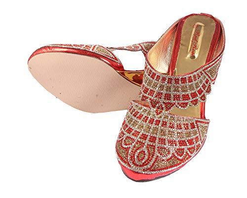 Honey Step Size 40 Comfortable Designer Red Gold Bridal Heel Sandals Chappals Wedges for Women Girls