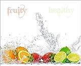 Artland Design Spritzschutz Küche I Alu Küchenrückwand Herd BxH: 80x65 cm sehr schnelle und einfache Montage Fruchtig - erfrischend - gesund - Zitronen Kirschen Erdbeeren Limetten