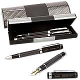 LOGIC-Etui mit SCHREIBSET CARBON MÄANDER 2-teilig Kugelschreiber und Füller mit Gravur