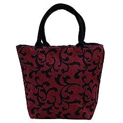 Utsav kraft Maroon Jute Bag, Womens Jute Shopping Bag, Fancy Jute Bag, Grocery bag, Gift bag, Trendy jute bag, print designer jute bag, Lunch bag, Handbag for Ladies Girls
