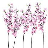 ULTNICE 6pcs Pfirsichblüte Zweig rosa Seidenblumen dekorative Blumen Kränze