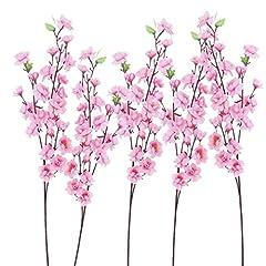 Idea Regalo - ULTNICE 6pcs Peach Blossom ramo rosa fiori artificiali ghirlande di fiori decorativi