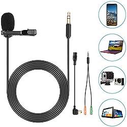 Neewer Lavalier Micrófono de Solapa para GoPro Hero 6 5 4 3+ 3 2 1/Hero Session, iPhone, Smartphone Android y PC para Captura de Sonido Ultra-Nítida con Adaptador de Móvil y Manguito de Viento 1,8M