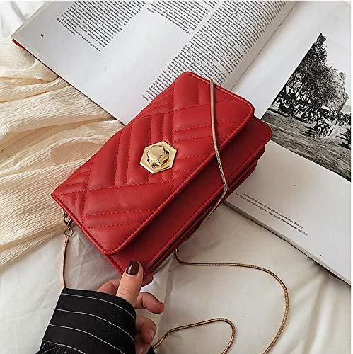 Personalisierte Sperre Schnalle Textur Mode Kleine Tasche Weibliche Wilde Einzelne Schulter Umwickelt Kleine Quadratische Tasche Rot - Versace Leder Schulter Tasche