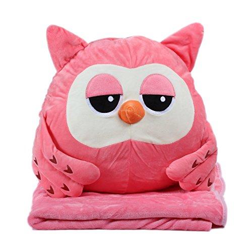 KOSBON 3 In 1 Rosa Eule Cute Cartoon Plüsch Angefüllte Tier Spielzeug Throw Pillow Blanket Set mit Handwärmer Design.
