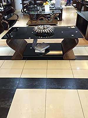 Designer Wooden Coffee Table with Black Glass produced by Hessle Satellite Ltd - quick delivery from UK.