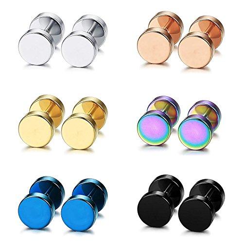 Unisex Rund 8mm Ohrstecker Edelstahl 6 Paare Ohrringe Set für Herren Damen Cupimatch