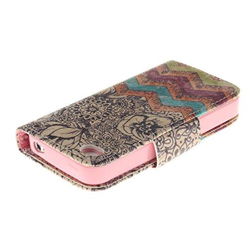 MOONCASE iPhone 4/4S Coque, Printing Series Case Étui en Cuir Portefeuille Housse de Protection Etui à rabat Cover pour Apple iPhone 4 / 4S TX04 TX05 #0401