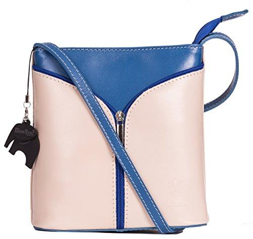 BHBS Kleine Damenumhängetasche aus echtem italienischem Leder 18 x 20 x 6 cm (B x H x T) Cream - Electric Blue Trim