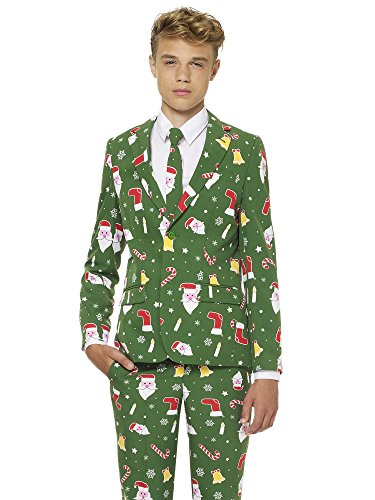 Suit for Boys Coming with Pants, Jacket and Tie (Herren Opposuits Grünen Anzug)