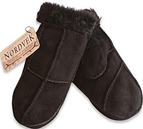 Nordvek Damen Fausthandschuhe aus 100% echtem Schaffell, mit Fellumschlag (Schaffell Echtem)