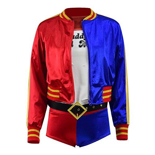 Harley Quinn Nachtclub Cosplay T-Shirt Jacke Shorts kompletter Satz für Frauen (XS, Stil 1)