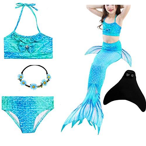 Yigoo Meerjungfrau Flosse zum Schwimmen Bikini Set mit Schwanz Monoflosse Prinzessin Kostüm Badeanzüge für Kinder Mädchen Violet 150