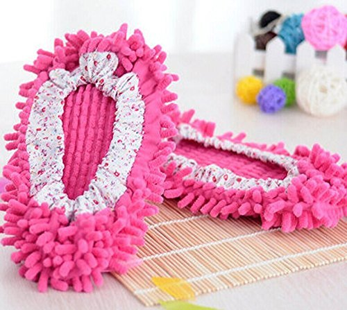 godhl 1Paar Cute Staub Mop Hausschuhe Schuhe Bodenreiniger Easy Clean Office Küche (Hot Pink)