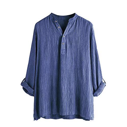 Beonzale Mens beiläufige Baumwolle Breathable Feste Lange Hülsen-Sommer-Knopf-T-Shirt Bluse Hemden Top Bluse