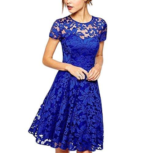 Damen Kurzarm Rundkragen Spitze Elegant Kleid Freizeitkleider Midikleid Cocktailkleid Abendkleider Blau