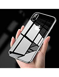 iPhone X Clear Case,iPhone X Silicone Case,EUWLY Luxury Electroplating Crystal Clear Case Slim Fit Anti-shock Transparent Case Cover Silicone Soft Case Gel Rubber Flexible TPU Soft Case Protective Cover Case Bumper Case Cover Shell Case for iPhone X + 1 x Blue Stylus Pen - Silver