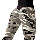 SET-SAIL Damen Mode gefaltet Hüfte Camouflage Druck hohe Elastizität enge Höhe Taille Sporthosen Yoga Hosen (Grau, S)