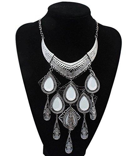 ZPXLGW Europe Et Les Etats-Unis Fashion Tassel Gouttes D'eau Collier Bijoux white