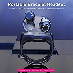 liuxi9836 TWS Bluetooth 5.0 Kopfhörer Tragbares Armband Headset Kabelloser Fitness-Uhrenspeicher mit Ladegerät Box…