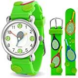 Bling Jewelry Green Analog Tennis Sports Childrens Watch Stainless Steel Back