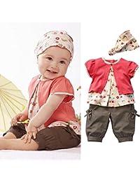 GenialES 3pcs Conjuntos de Camiseta Pantalones Cortos y Banda del Pelo de Verano para Bebé Niñas