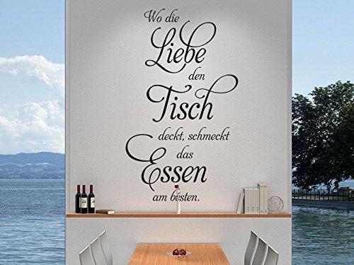 Klebeheld® Wandtattoo Spruch Wo die Liebe den Tisch deckt. (Farbe Gold/Größe 82x140cm)