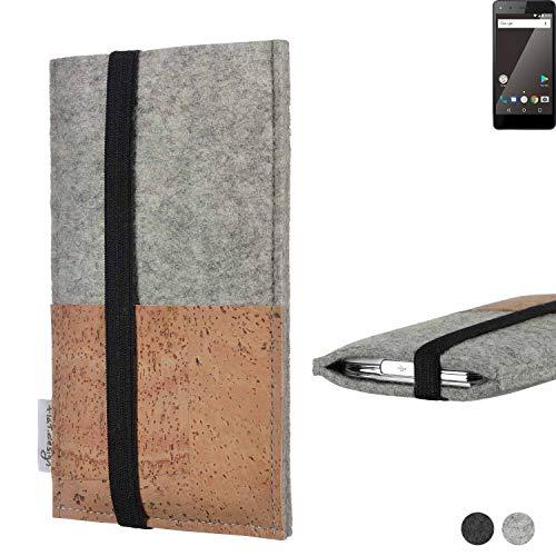flat.design Handy Hülle Sintra für Blaupunkt SL 01 Handytasche Filz Tasche Schutz Kartenfach Case Kork