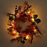 FeiliandaJJ Herbst Decoration Tür Kranz mit LED Licht,Künstliche Pflanzen für Wand Party hängenden Garland Ornamente Weihnachtsschmuck (A)