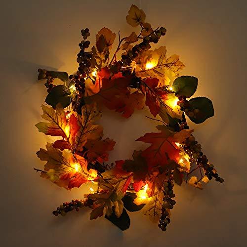 Girlanden,Hunpta Herbst Ahornblatt Berry künstliche Garland Haustür Kranz Xmas Home Decor mit Lichterkette (A)