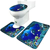 Blue Sea Theme Dolphin Shark Bathroom opaco Set 3pcs di